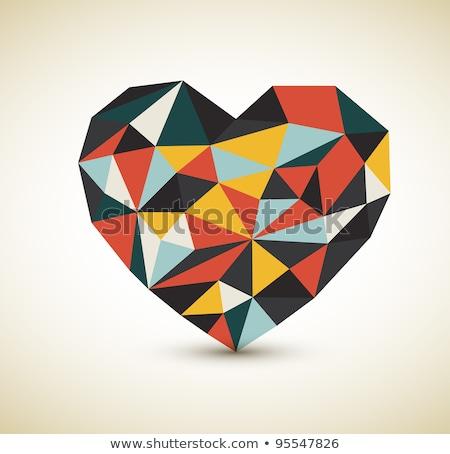 Vector retro hart kleur ontwerp Stockfoto © orson