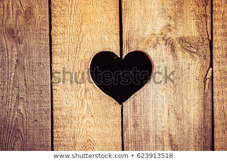 Coeur bois bord rouge ruban vacances Photo stock © olgaaltunina