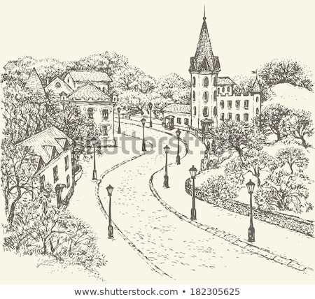 old antique street lamp and castle view Stock photo © morrbyte