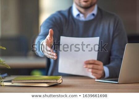 Zakenman arm handdruk witte corporate professionele Stockfoto © wavebreak_media