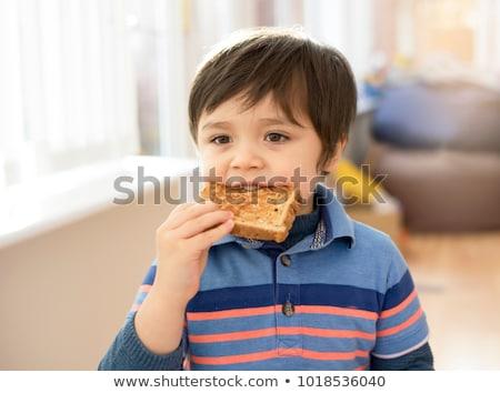 Kaukázusi fiú eszik kenyér kicsi étel Stock fotó © fanfo