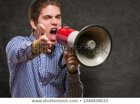 üzgün · patron · işçi · megafon · öfkeli - stok fotoğraf © fuzzbones0