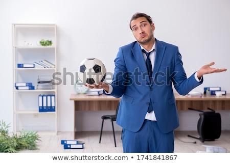 Stok fotoğraf: Futbol · dizüstü · bilgisayar · futbol · klavye · defter · hareketli