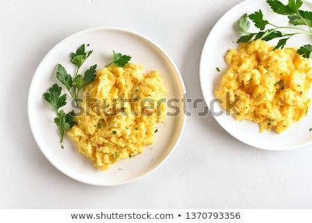 Roereieren klaar schaal groene eieren ontbijt Stockfoto © Digifoodstock