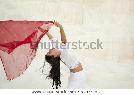 Nő citromsárga Egyiptom stílus izolált fehér Stock fotó © fanfo