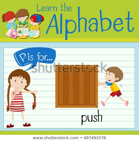 Flashcard letter P is for push Stock photo © bluering