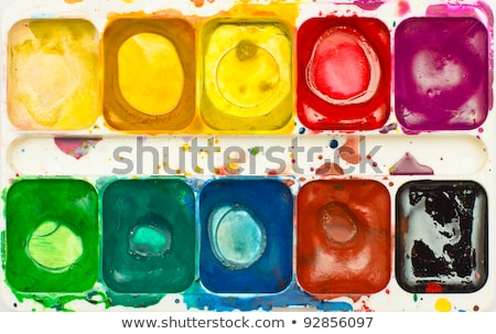 Used watercolor paint box top down view Stock photo © vlad_star