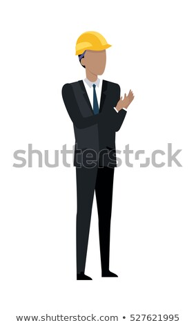 man in black suit and yellow helmet clapping hands stock photo © robuart