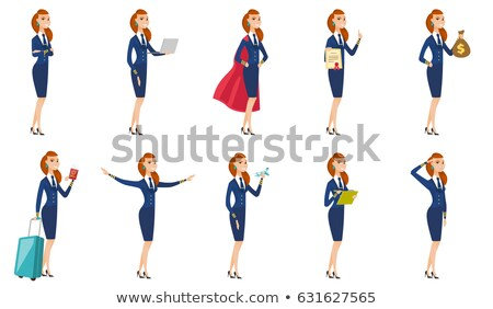 Caucasian stewardess with arms outstretched. Stock photo © RAStudio