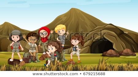 Foto stock: Crianças · safári · traje · camping · fora · caverna