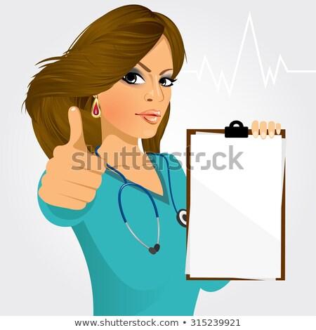 férfi · orvos · illusztráció · sztetoszkóp · izolált · orvos · orvosi - stock fotó © rastudio