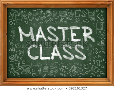 master class on chalkboard with doodle icons stock photo © tashatuvango