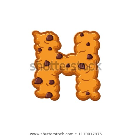 H letter cookies. Cookie font. Oatmeal biscuit alphabet symbol.  Stock photo © popaukropa