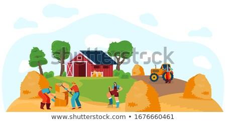 Człowiek kobieta siano stodoła para zabawy Zdjęcia stock © IS2