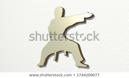 Karate fehér öv fémes tekert felfelé Stock fotó © wavebreak_media