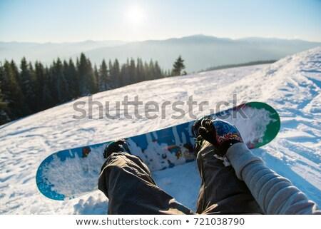 Láb hódeszka égbolt hegy vakáció áll Stock fotó © IS2