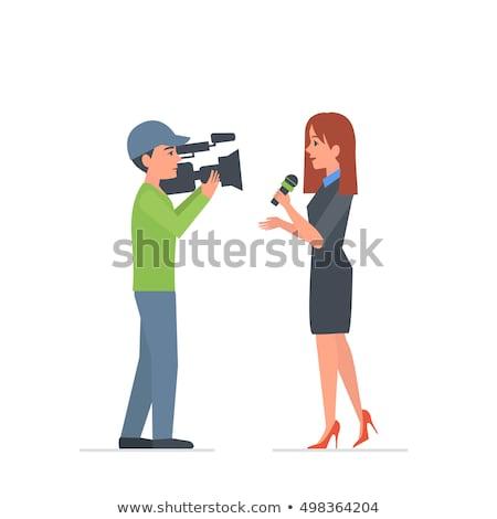 television cameraman flat cartoon character stock photo © voysla