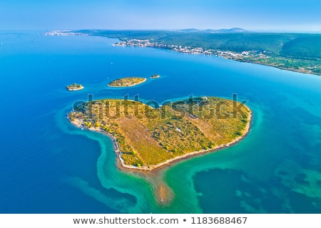 Heart shaped island of Galesnjak in Zadar archipelago aerial vie Stock photo © xbrchx