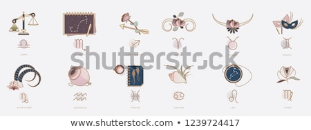Magenta Scales and Libra Icon Vector Illustration Stock photo © cidepix