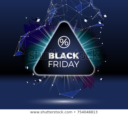 black friday sale poster or banner with shiny emblem lines and triangles stock photo © swillskill