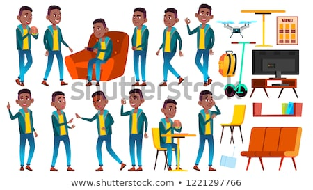 Boy Schoolboy Kid Poses Set Vector. Black. Afro American. High School Child. School Student. Cheer,  Stock photo © pikepicture