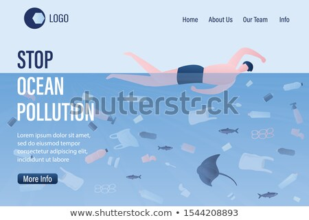 ocean pollution by plastic trash ecology concept man swimmer s stock photo © studiostoks