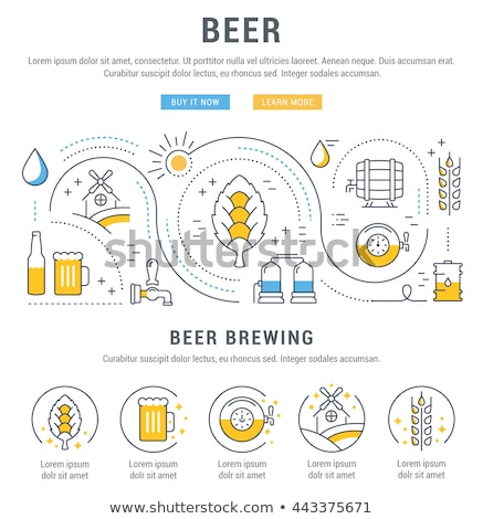 Wheat Beer Glass And Hopped Drink Mug Landing Page Stock photo © robuart