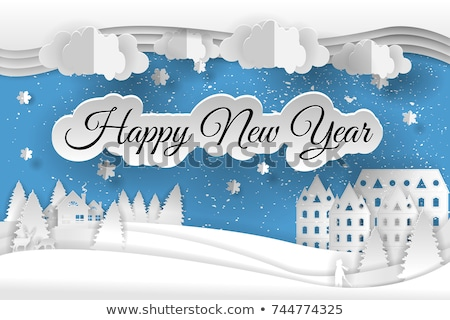 New Year Paper Cut Greeting Card Houses Xmas Trees Stock photo © robuart