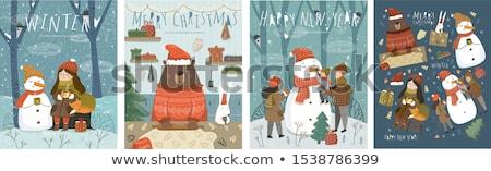 Karácsony ünnepek betűk mikulás hajadon tél Stock fotó © robuart