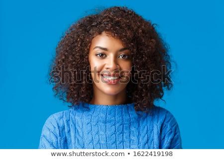 wesoły · dość · młoda · kobieta · jedzenie · śmiechem - zdjęcia stock © deandrobot