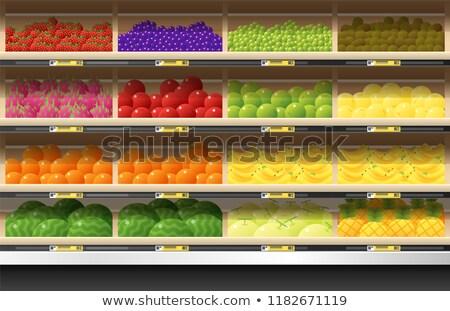 Foto d'archivio: Supermercato · frutti · dipartimento · vettore · store