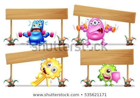 four wooden sign template with monsters stock photo © colematt