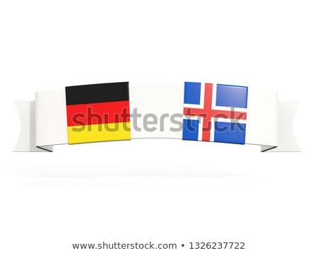Bannière deux carré drapeaux Allemagne Islande Photo stock © MikhailMishchenko