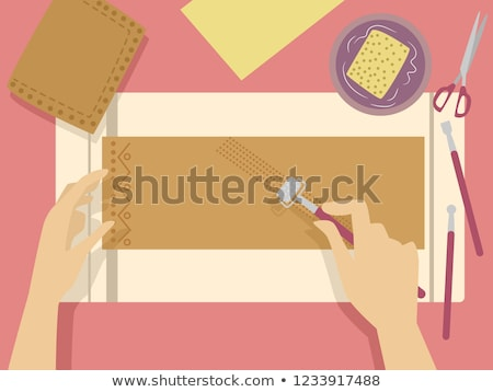 Hands Embossing Leather Illustration Stock photo © lenm