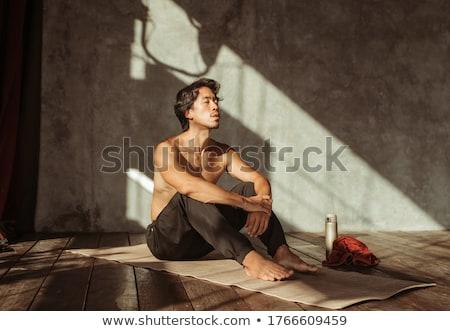портрет спортсмен сидят фитнес пляж Сток-фото © deandrobot