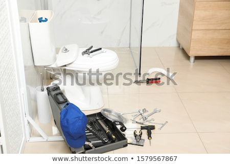 Plumbing wrench on the bathroom ceramic floor. Stock photo © Kurhan
