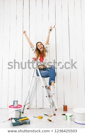 Foto blijde vrouw 20s vergadering Stockfoto © deandrobot
