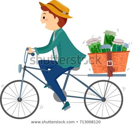Stickman Man Bike Herbal Medicine Deliver Illustration Stock photo © lenm