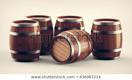Stock fotó: Fából · készült · hordó · áll · 3D · 3d · render · illusztráció