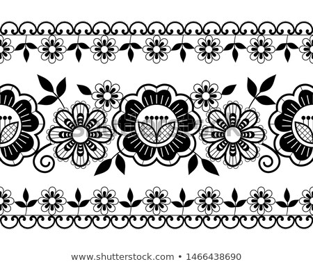 Seamless wedding laace pattern, ornamental design  with roses, flowers and swirls, detailed lace mot Stock photo © RedKoala