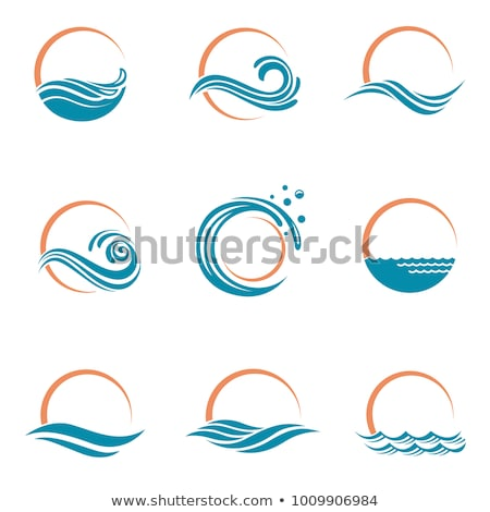set of water wave and drop icons symbols stock photo © marish
