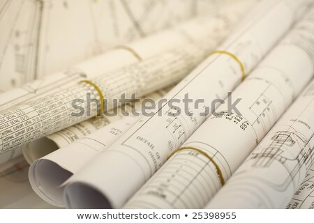 engineer drawing a blue print approve design building with archi Stock photo © snowing