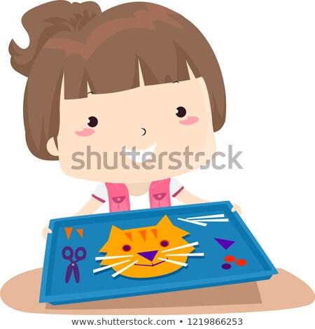 Kid ragazza giorno care presenti artigianato Foto d'archivio © lenm