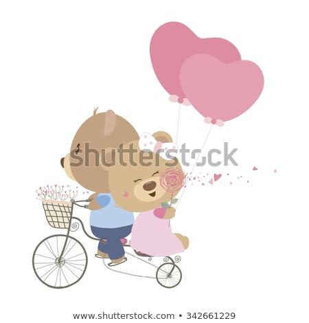 szeretet · engem · plüssmackók · vektor · szív · felirat - stock fotó © robuart