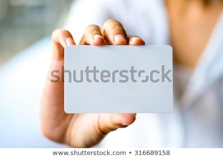 üzletasszony tart üres kártya iroda digitális kompozit üzlet Stock fotó © wavebreak_media