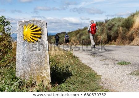 pilgrims walking on a path to santiago de compostela stock photo © diego_cervo