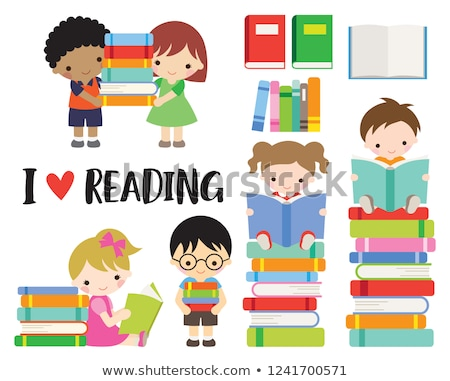 少年 少女 図書 スタック 若い男 ストックフォト © lichtmeister