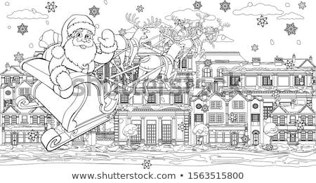 Kerstman slee straat geschenken herten Stockfoto © liolle