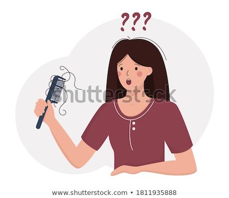 Mãos pente cabelo cair ilustração Foto stock © lenm