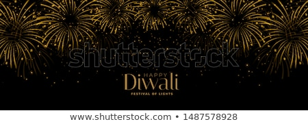black and gold happy diwali sparkles banner design Stock photo © SArts